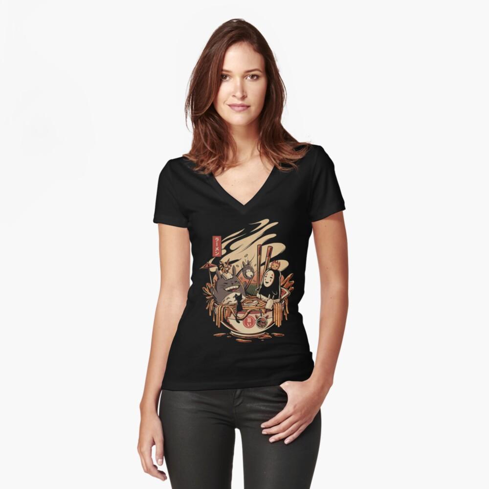Ramen Poolparty Tailliertes T-Shirt mit V-Ausschnitt