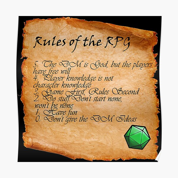 RPG Rules Poster