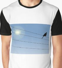 Crow Perched on Wire Graphic T-Shirt