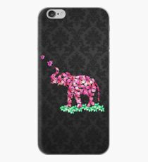 Retro Blumen-Elefant-Rosa-Kirschblüte-Schwarz-Damast iPhone-Hülle & Cover