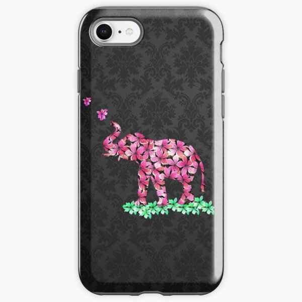 Retro Flower Elephant Pink Sakura Black Damask iPhone Tough Case