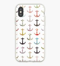 Vintage retro sailor girly floral nautical anchors iPhone Case