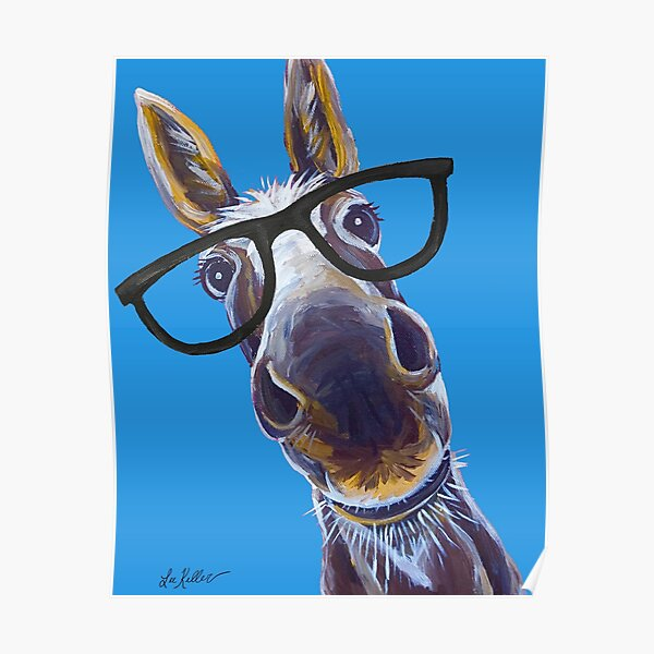 Funny Donkey art, Smart Donkey with glasses Poster