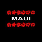 Maui Red Flower Bands Color Dark by TinyStarAmerica