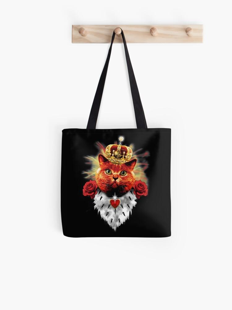 Tote Bag Red Roses Grincheux Cat Reine De La Couronne Couronne Chat Rouge Par Margarita Art Redbubble