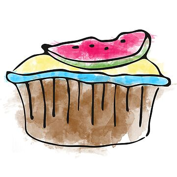 watermelon cake - watercolor by IvonDesign