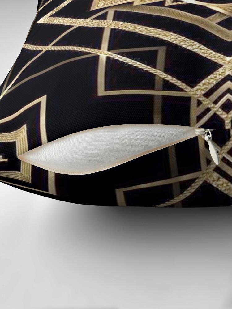 Alternate view of Art deco,vintage,1920 era,The Great Gatsby,gold,black,pattern,elegant,chic,modern,trendy Throw Pillow