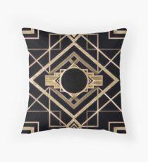 Art Deco, Vintage, 1920 Ära, The Great Gatsby, Gold, schwarz, Muster, elegant, schick, modern, trendy Dekokissen