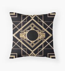 Art deco,vintage,1920 era,The Great Gatsby,gold,black,pattern,elegant,chic,modern,trendy Throw Pillow