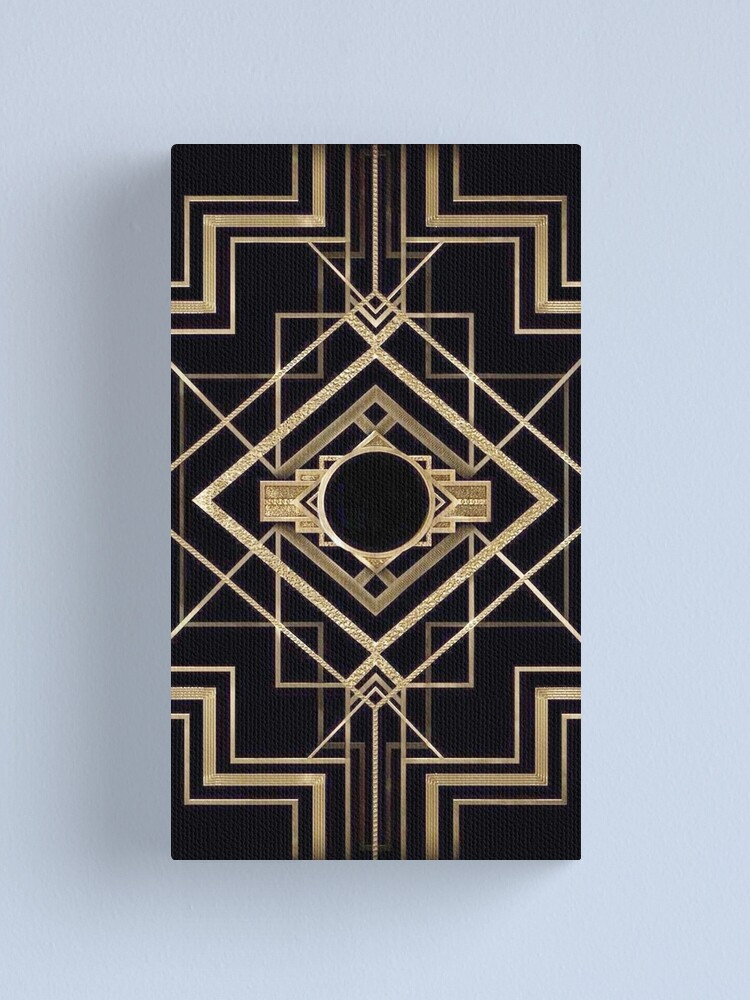 Alternate view of Art deco,vintage,1920 era,The Great Gatsby,gold,black,pattern,elegant,chic,modern,trendy Canvas Print
