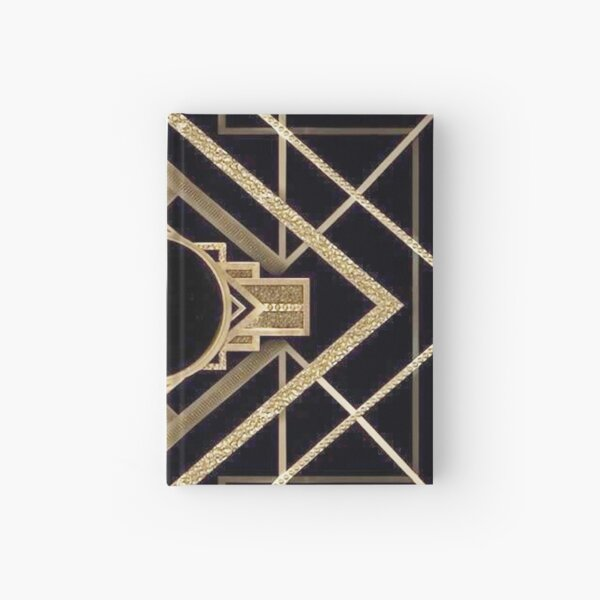 Art deco,vintage,1920 era,The Great Gatsby,gold,black,pattern,elegant,chic,modern,trendy Hardcover Journal