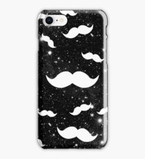 White Space Funny Mustaches on Black Galaxy Nebula iPhone Case/Skin