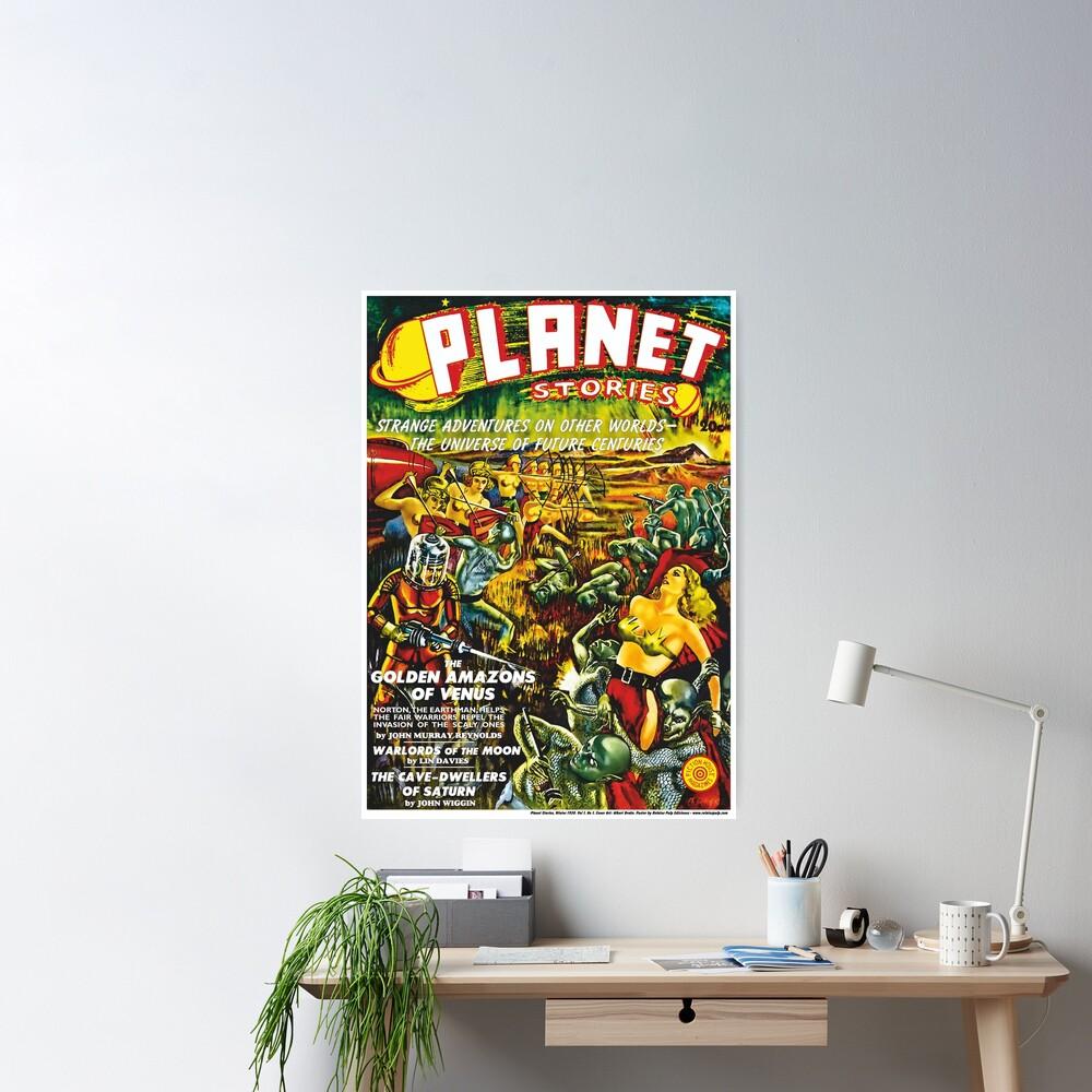 Poster: Planet Stories, Winter 1939. Vol 1, No 1. Cover Art by Albert Drake. Reproducción: Relatos Pulp Ediciones Póster