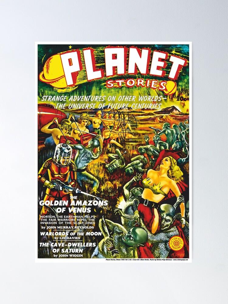 Vista alternativa de Póster Poster: Planet Stories, Winter 1939. Vol 1, No 1. Cover Art by Albert Drake. Reproducción: Relatos Pulp Ediciones