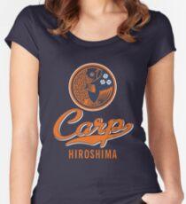 Hiroshima Karpfen Logo Retro Tailliertes Rundhals-Shirt