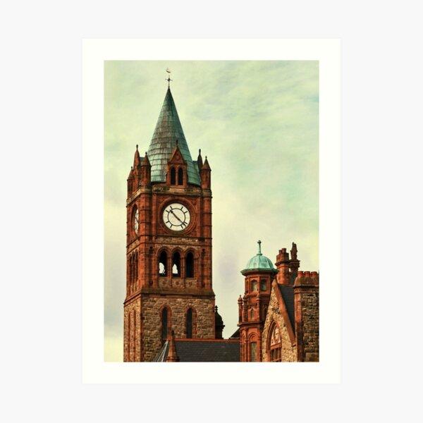 Derry Guildall - clock tower Art Print