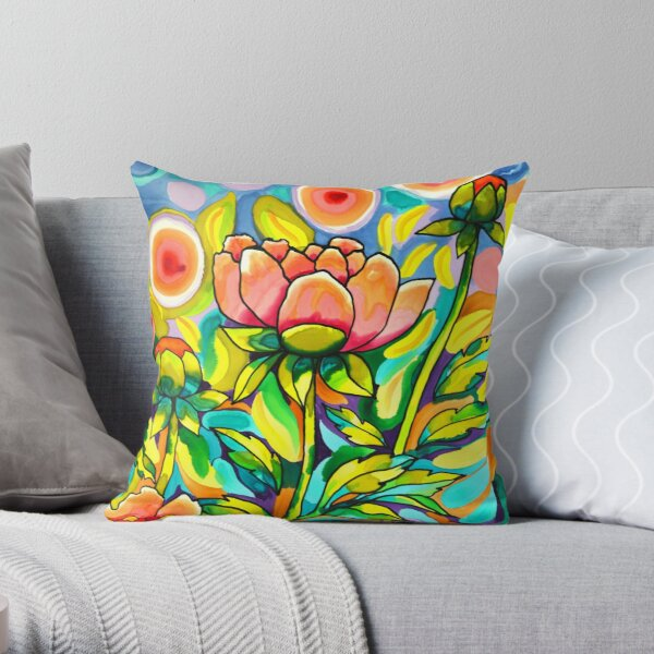 A Field of Peach Poppies Throw Pillow