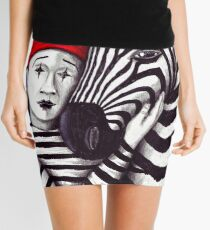 Zebra and Mime pen, ink, and colored pencils drawing Mini Skirt