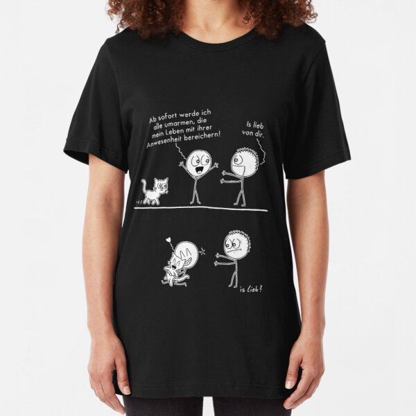 Alle umarmen islieb-Comic Slim Fit T-Shirt