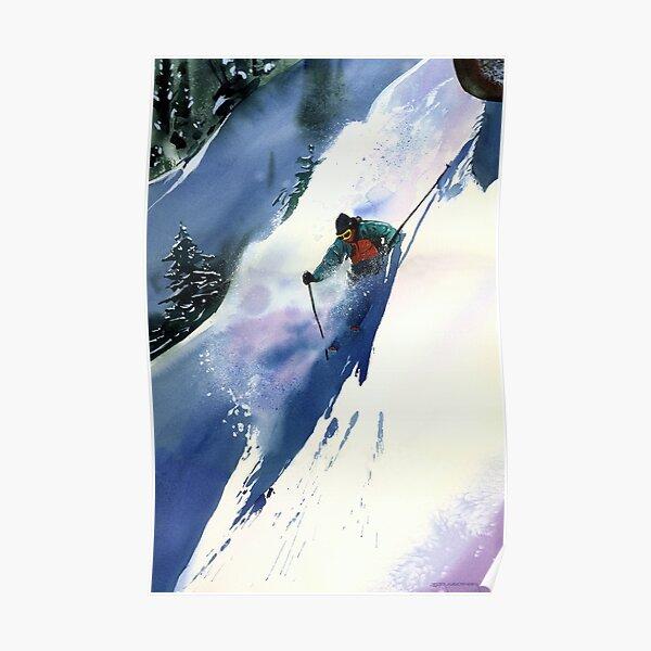 POSTER ASPEN COLORADO WINTER SPORT SPEED DOWNHILL SKIING VINTAGE REPRO FREE S//H