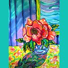 The Painted Table Pink Peony in Glass Vase Belize by caribbeancolors