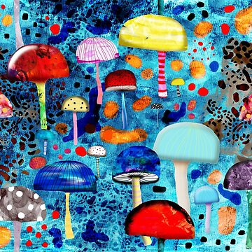 Mein Ein, mein Alles - Mushrooms Abstract Botanical Art - Blue Animal print - Leopard Muster by rupydetequila