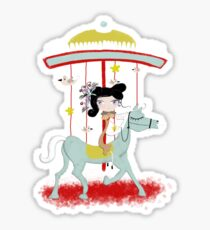 Carousel colorful whimsical magic horse ride doll tshirt Sticker