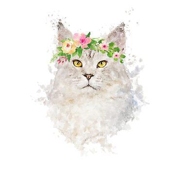 Fluffy cat with flowers , boho cat portrait by DarkMaskedCats