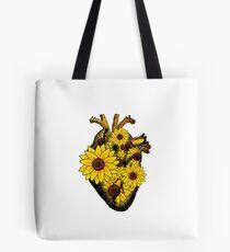 Summer Sunflower Heart  Tote Bag