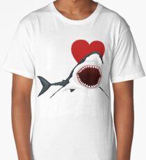 I Love The Week Of Sharks Cute Novelty Gift Idea For Shark Lovers Graphic Shark Bite Long T-Shirt