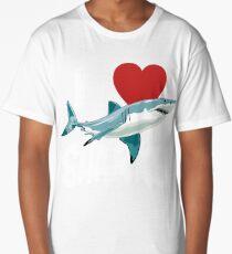 I Love Sharks Cute Novelty  Week of the Shark Gift Idea For Shark Lovers Graphic Shark Long T-Shirt