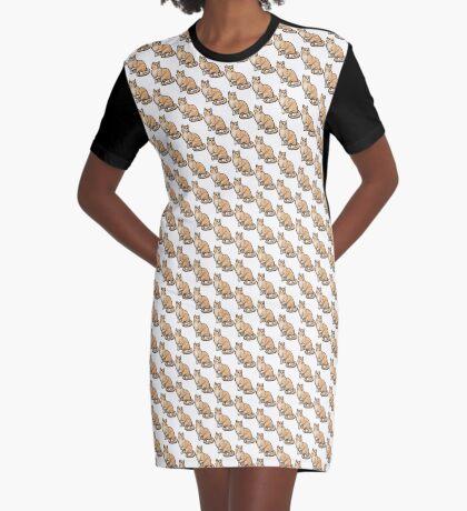 Big Tabby Cat Graphic T-Shirt Dress