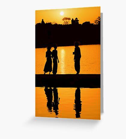 Sunset at Pushkar Lake #2 Greeting Card