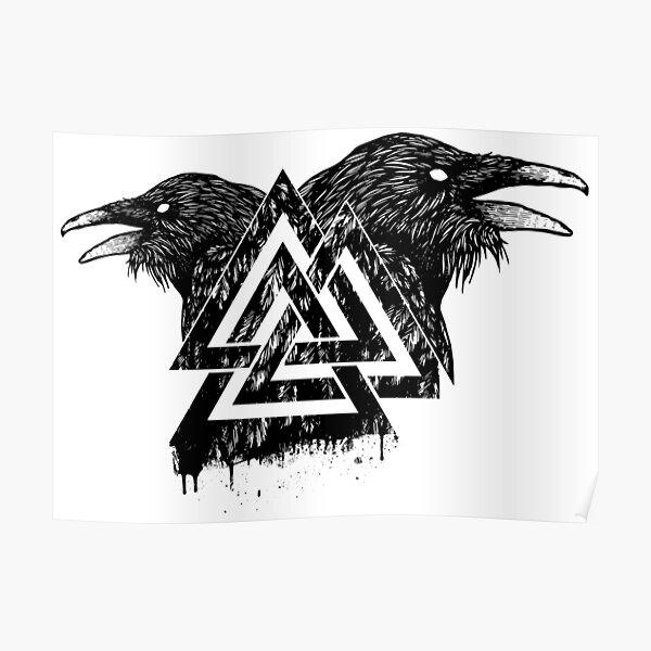 Valknut Symbol and Raven Poster