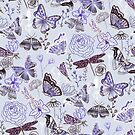 Dragonflies, Butterflies, Moths and Floral Design on Pale Blue by TigaTiga