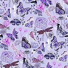 Dragonflies, Butterflies, Moths and Floral Design on Pastel Purple  by TigaTiga