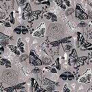 Dragonflies, Butterflies, Moths and Floral Design on Grey by TigaTiga