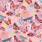 Dragonflies, Butterflies, Moths and Floral Design on Millennial Pink  by TigaTiga