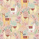 Mexican Llamas on Beige by TigaTiga