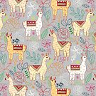 Mexican Llamas on Pale Grey  by TigaTiga