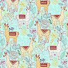Mexican Llamas on Aqua by TigaTiga
