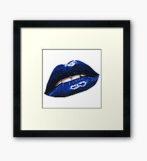 Blue Layered Graphic Lips Framed Print