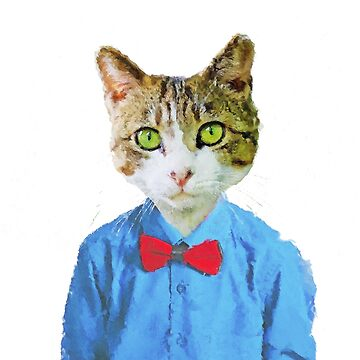 Funny Cat with blue shirt and red bow tie  by DarkMaskedCats
