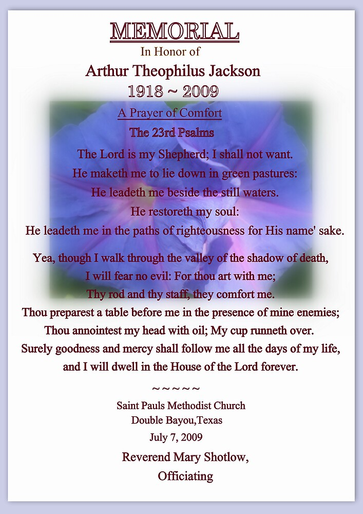 MEMORIAL CARD ~ UNCLE THEO by Dalzenia Sams