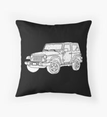Jeep - White Throw Pillow