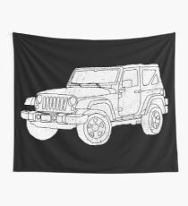 Jeep - White Wall Tapestry