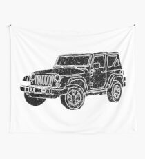 Jeep - Black Wall Tapestry