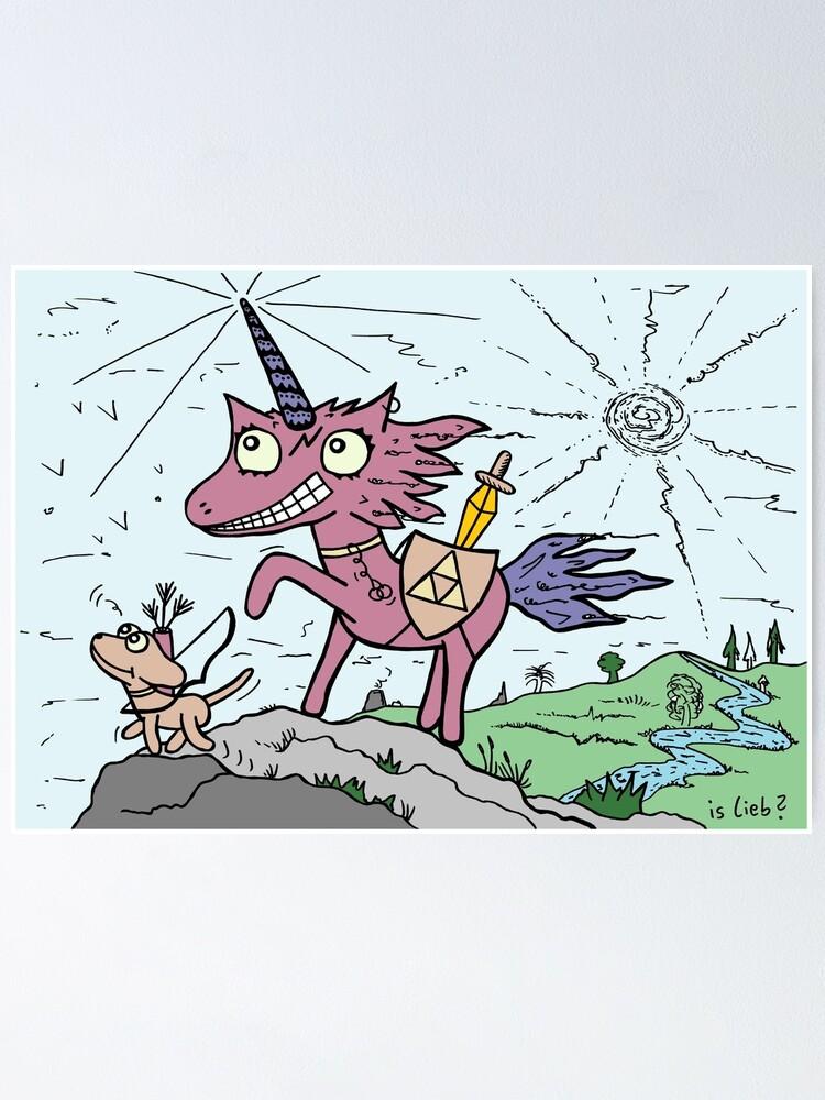 Alternative Ansicht von Einhorn mit Hund | islieb Poster