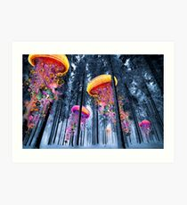 New Winter Forest of Electric Jellyfish Worlds  Art Print