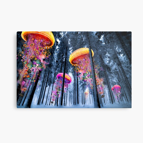 New Winter Forest of Electric Jellyfish Worlds  Metal Print